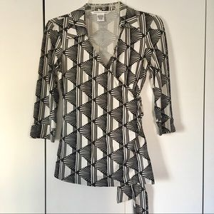 DVF black white optical print wrap blouse